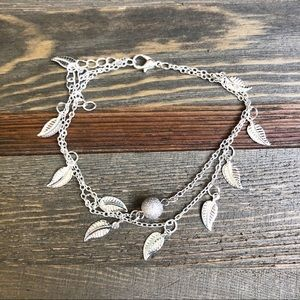 Jewelry - (NWT) Silver Leaf Chain Anklet